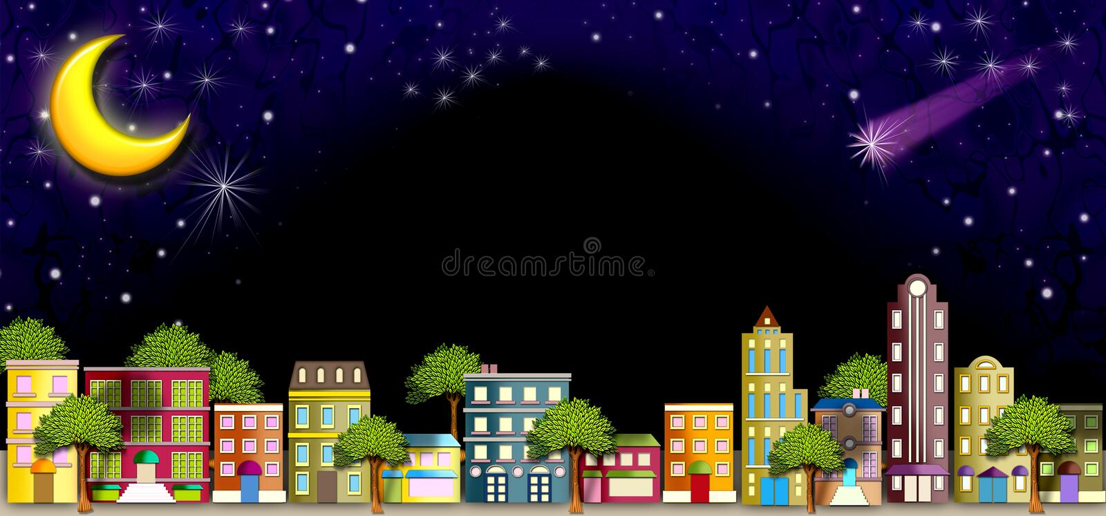 Neighborhood street at Night. A colorful illustration of a quaint street scene with apartment houses & beautiful trees undera glowing canopy of twinkling stars