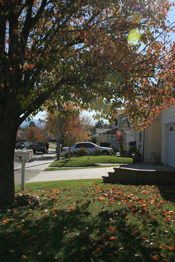 Neighborhood in the suburbs stock photos