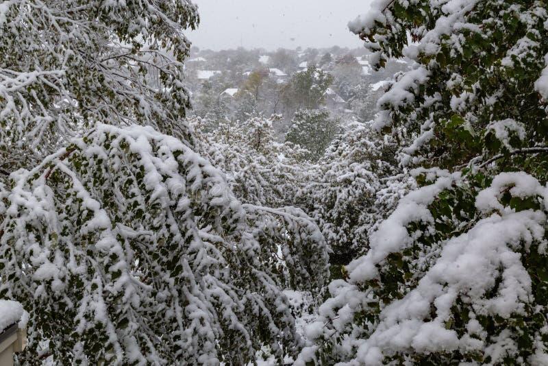 Neighborhood under siege: First snow of 2018 winter season in Omaha Nebraska USA. An Omaha neighborhood, photo taken through an upper level window, under siege royalty free stock photos