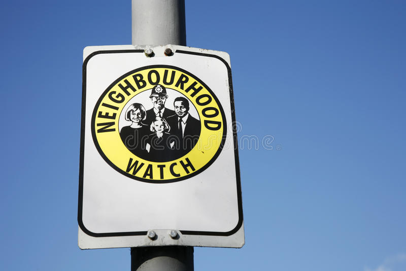 Neighborhood watch sign. Neighbourhood watch area sign in England, UK royalty free stock photos