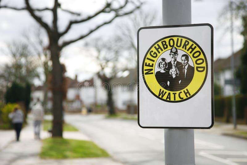 Neighborhood watch sign. Neighbourhood watch area sign in England, UK stock images