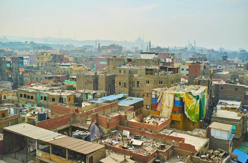 Neighborhoods of old incomplete housing, Cairo, Egypt. Many slums in old Cairo neighborhoods are incompletely built or partly unfinished with heaps of royalty free stock photo