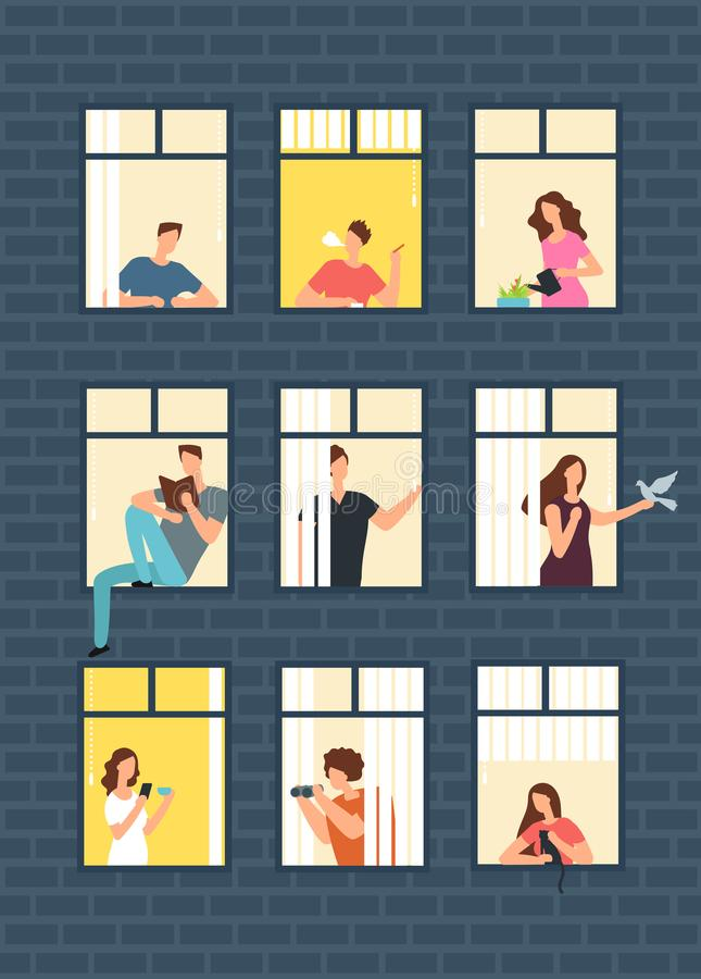 Neighbors cartoon people in apartment house windows. Neighborhood vector concept. Building with window and man, woman illustration royalty free illustration