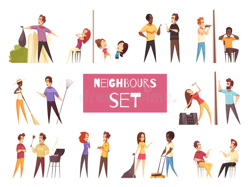 Neighbors Cartoon Set. With friendship and quarrel between adult people living next to each other isolated vector illustration stock illustration
