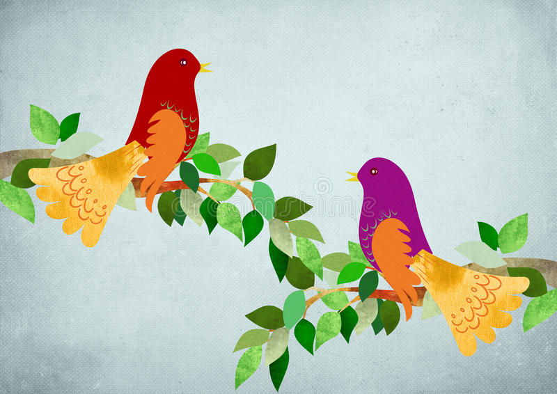 Neighbors chatting. Illustration of Two birds Neighbors chatting royalty free illustration