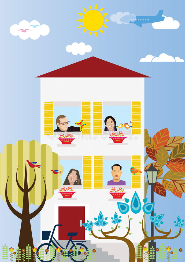 Neighbors. Flat geometric figure of Neighbors in town royalty free illustration