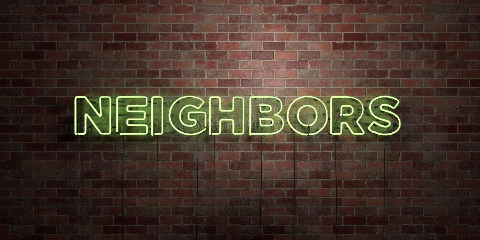 NEIGHBORS - fluorescent Neon tube Sign on brickwork - Front view - 3D rendered royalty free stock picture. Can be used for online banner ads and direct mailers royalty free illustration