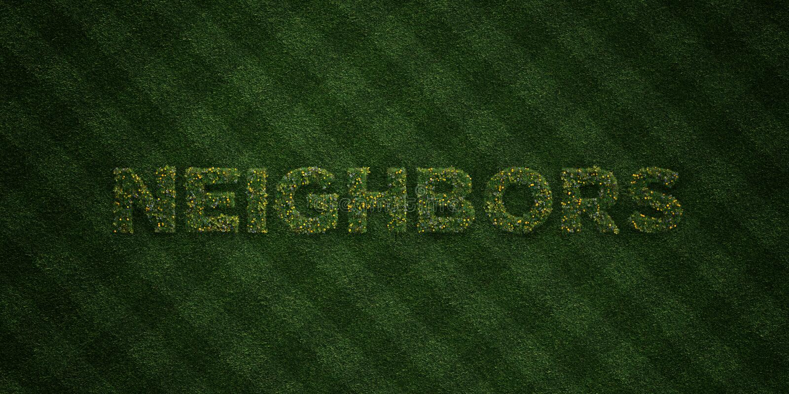 NEIGHBORS - fresh Grass letters with flowers and dandelions - 3D rendered royalty free stock image. Can be used for online banner ads and direct mailers vector illustration