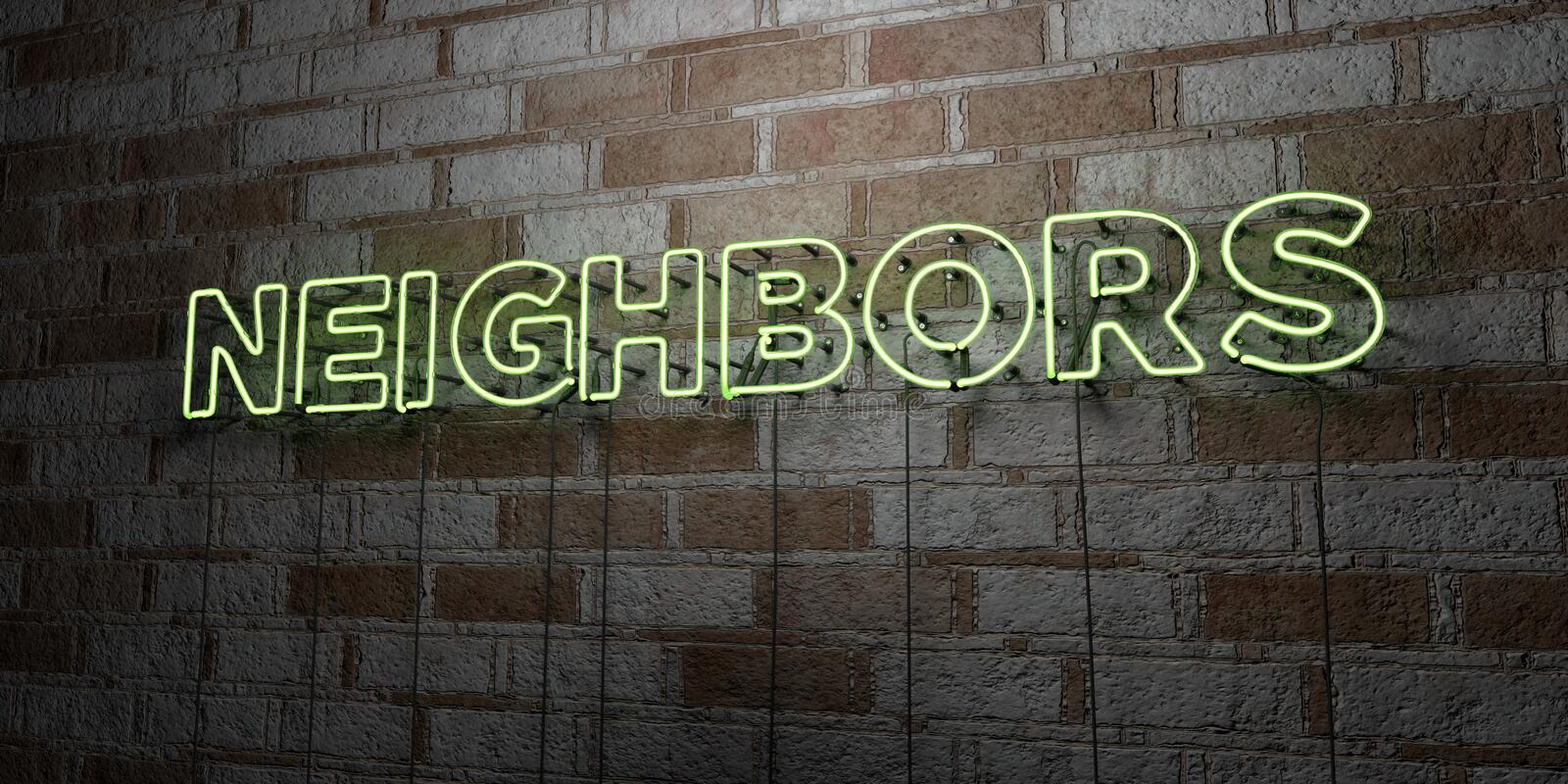 NEIGHBORS - Glowing Neon Sign on stonework wall - 3D rendered royalty free stock illustration. Can be used for online banner ads and direct mailers royalty free illustration
