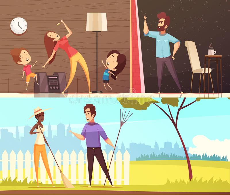 Neighbors Horizontal Banners. Neighbors talking near fence dancing to loud music and irritated for noise horizontal banners cartoon vector illustration royalty free illustration