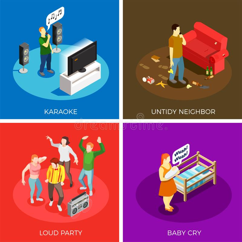Neighbors Isometric Design Concept. Neighbors relations isometric design concept with karaoke, untidy person, loud party, baby cry isolated vector illustration stock illustration