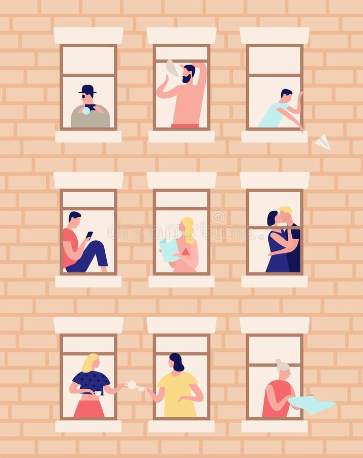 Neighbors and neighborhood. Exterior of building with opened windows and people living inside. Men and women drinking. Tea, reading, kissing in their apartments royalty free illustration