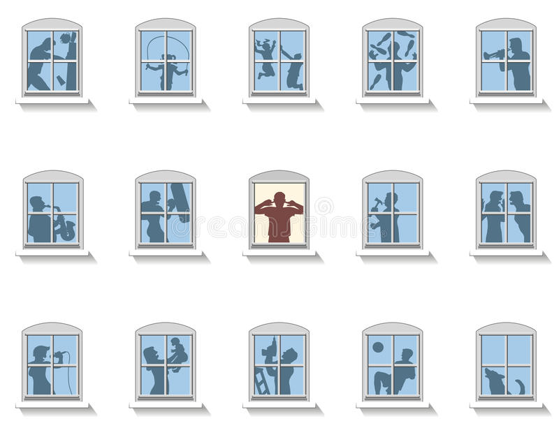 Neighbors Noise Windows. Neighbors that make various kinds of noise, in the middle window an annoyed man covers his ears. Isolated vector illustration on white royalty free illustration