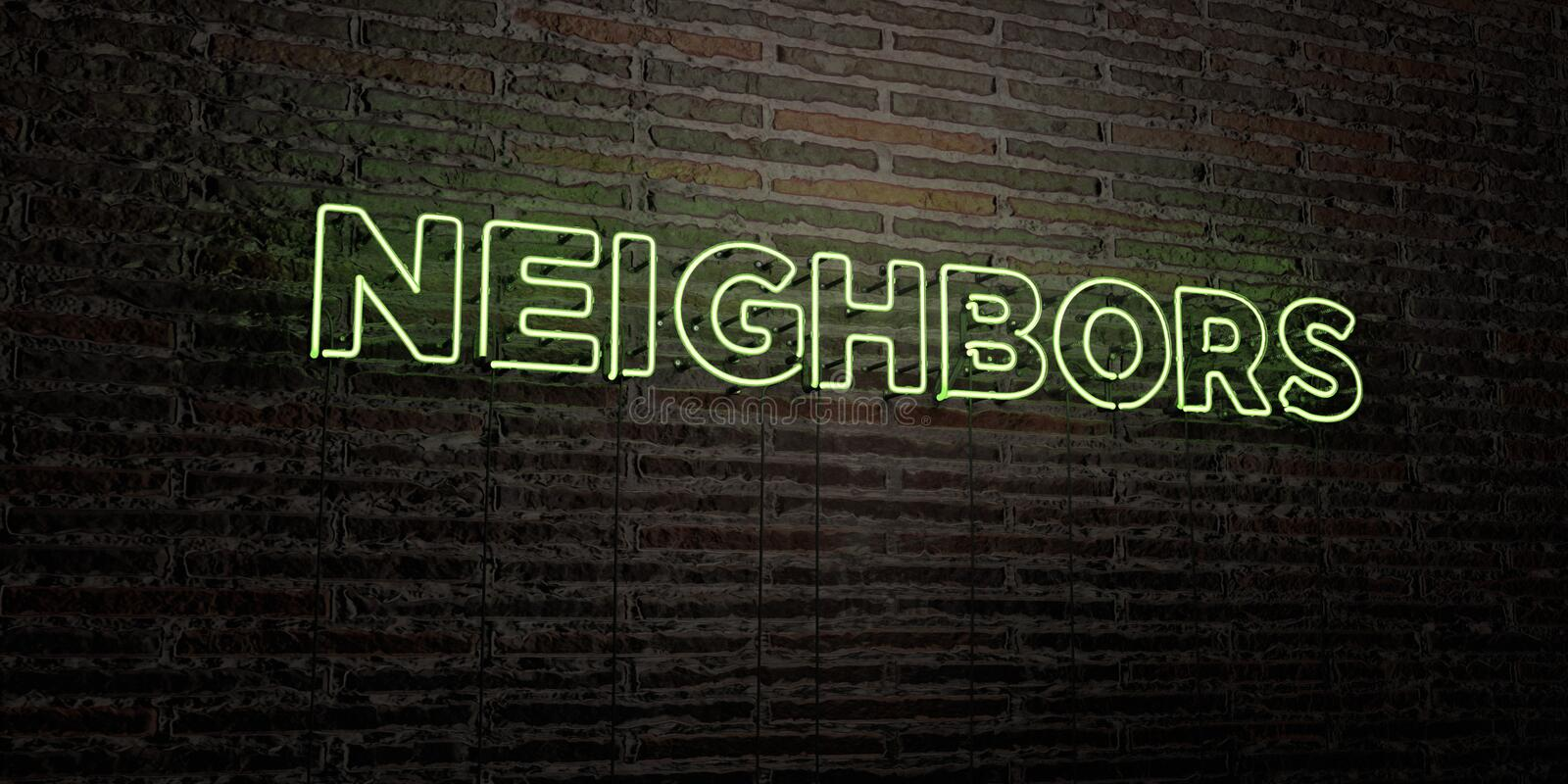 NEIGHBORS -Realistic Neon Sign on Brick Wall background - 3D rendered royalty free stock image. Can be used for online banner ads and direct mailers stock illustration