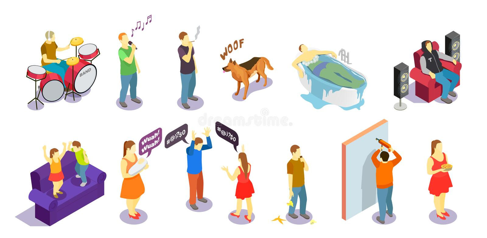 Neighbors Relations Isometric People. During quarrel, singing, repair and sounds of drum, barking dog isolated vector illustration vector illustration