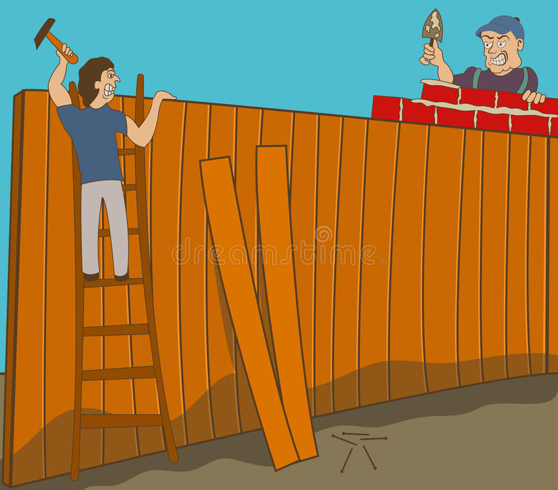 Neighbors. Two neighbors in war are building two different fences on their ground royalty free illustration