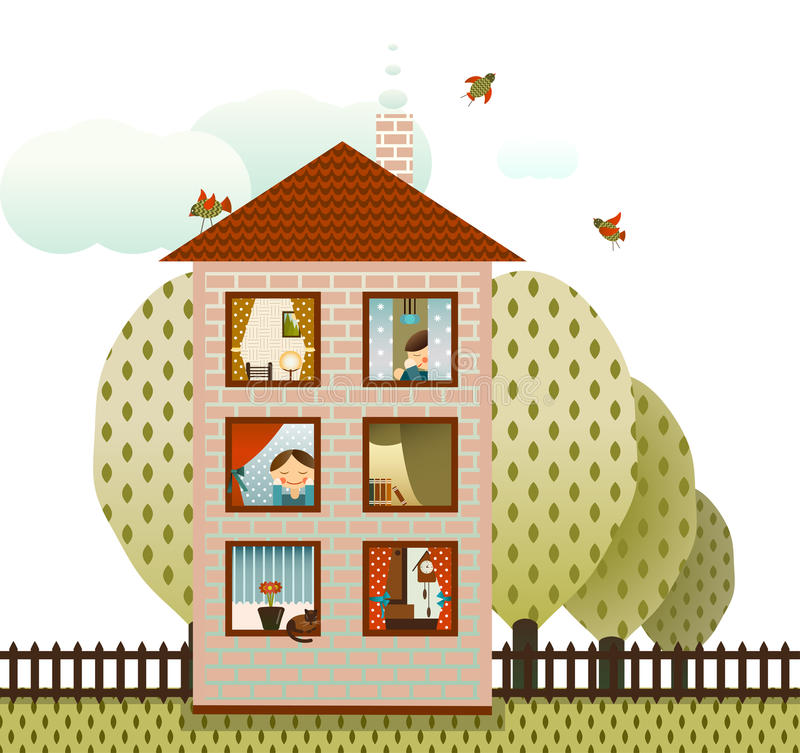 Neighbors in the Village House. Village cottage with neighbors. Vector EPS8 illustration stock illustration