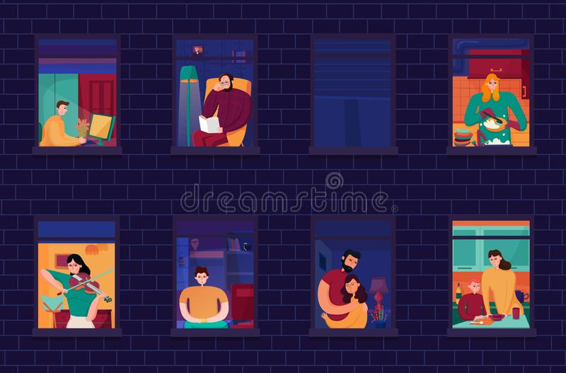 Neighbors In Windows Night Illustration. Neighbors during evening occupations in windows of home on background of brick wall night vector illustration stock illustration