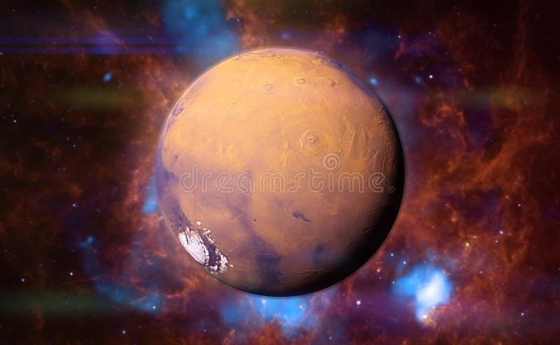 Planet Mars in front of a colourful nebula 3d space illustration, elements of this image are furnished by NASA vector illustration