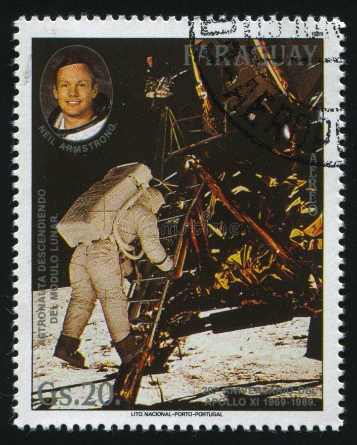 Neil Armstrong en een astronaut  royalty-vrije stock afbeelding