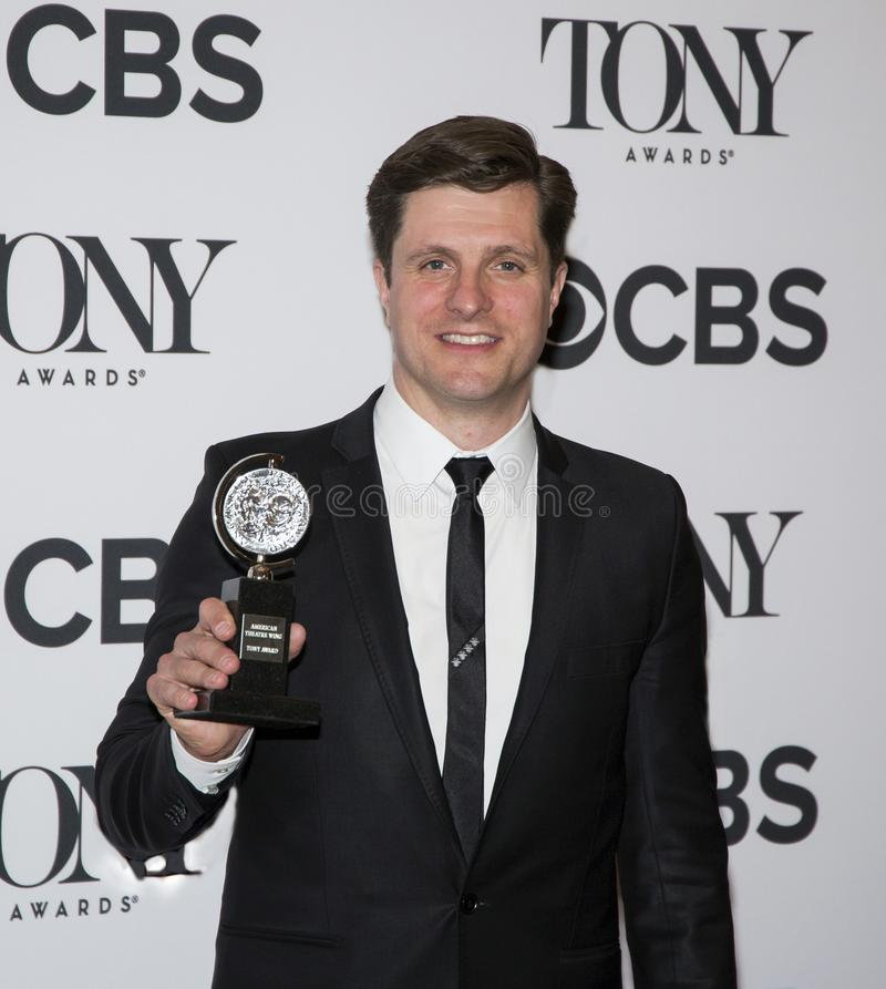 Neil Austin at the 2018 Tony Awards. Lighting Designer Neil Austin arrives in the media room of the 72nd Annual Tony Awards at the 3 West Club in New York City royalty free stock image