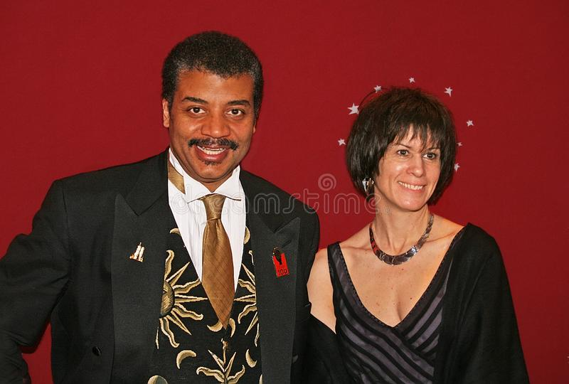 Neil deGrasse Tyson en Alice Young royalty-vrije stock fotografie