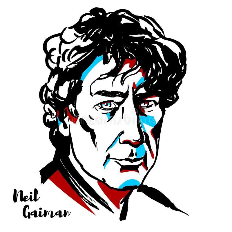 Neil Gaiman Portrait illustrazione di stock
