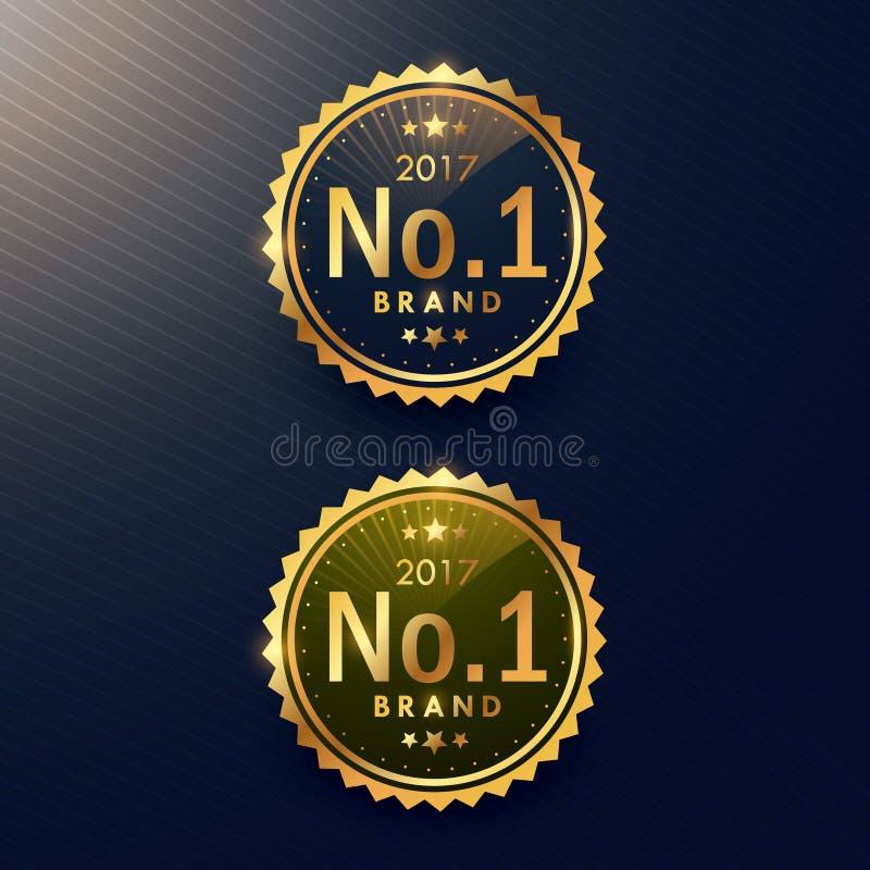 Nein 1 goldener Aufkleber der Marke und Ausweisdesign lizenzfreie abbildung