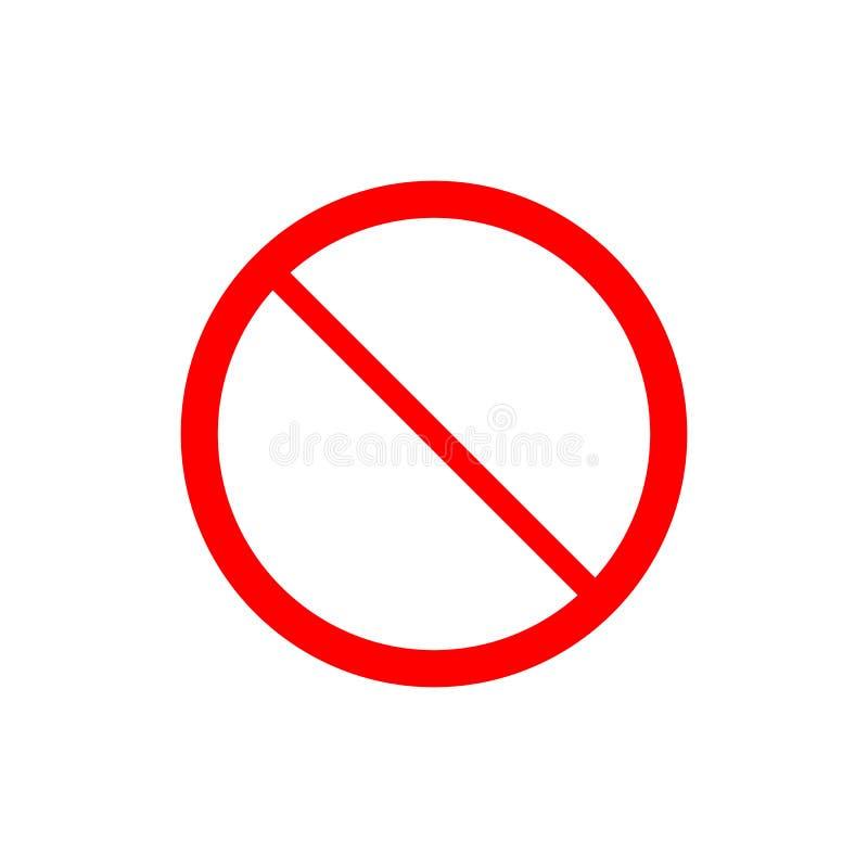 Nein, kein Eintritt, kein Zeichen, Zeichenikone Flache Vektorillustration ROTER KREIS lizenzfreie abbildung