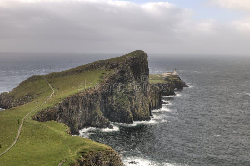 Neist Point lighthouse in Isle of Skye, Scotland stock photos