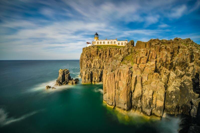 Neist Point lighthouse at Isle of Skye in Scotland. Neist Point lighthouse at Isle of Skye, Scottish highlands, United Kingdom. Long exposure royalty free stock image