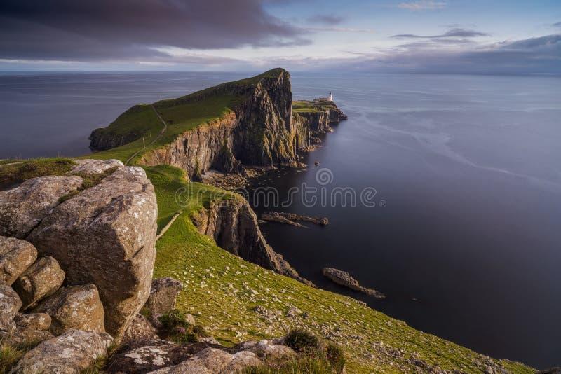 Neist Point lighthouse, Scotland stock images