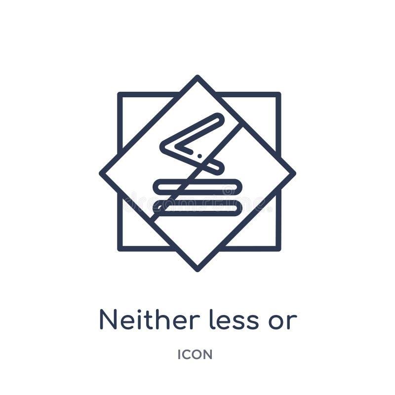 neither mniej lub dokładnie dorówna ikonę od znaka konturu kolekcji Cienieje linię mniej lub dokładnie równą ikonę odizolowywając royalty ilustracja
