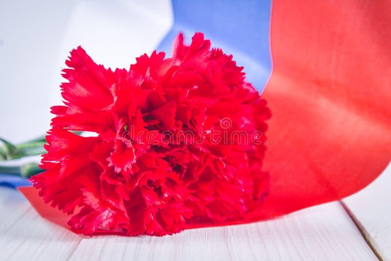 Nejlika och band av St George, som ett symbol av segern mot bakgrunden av den ryska flaggan Maj 9, dagen av segern fotografering för bildbyråer