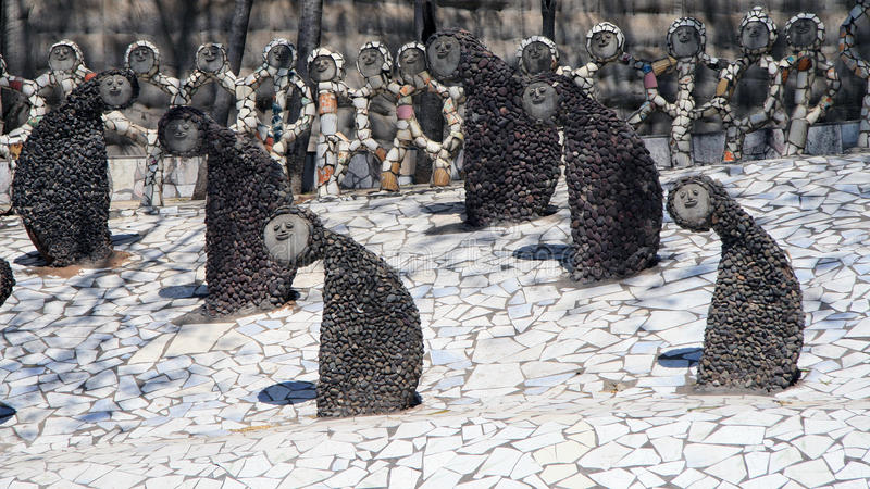 Nek Chand's Remarkable Garden. The Rock Garden of Chandigarh, made from recycled products stock images