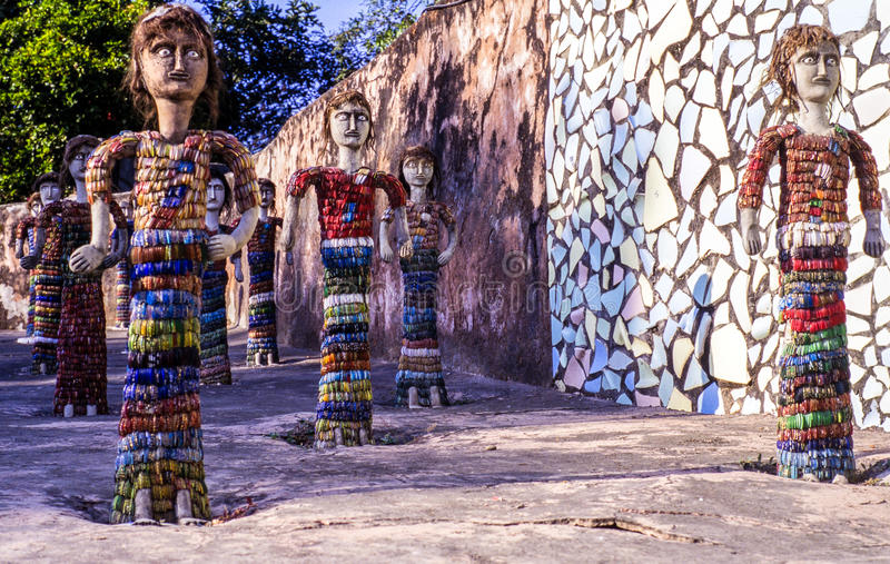 Nek Chands Rock Garden Chandigarh India. Sculptures of human figures made out of recycled materials in Nek Chand's Rock Garden. Chandigarh, India stock photos