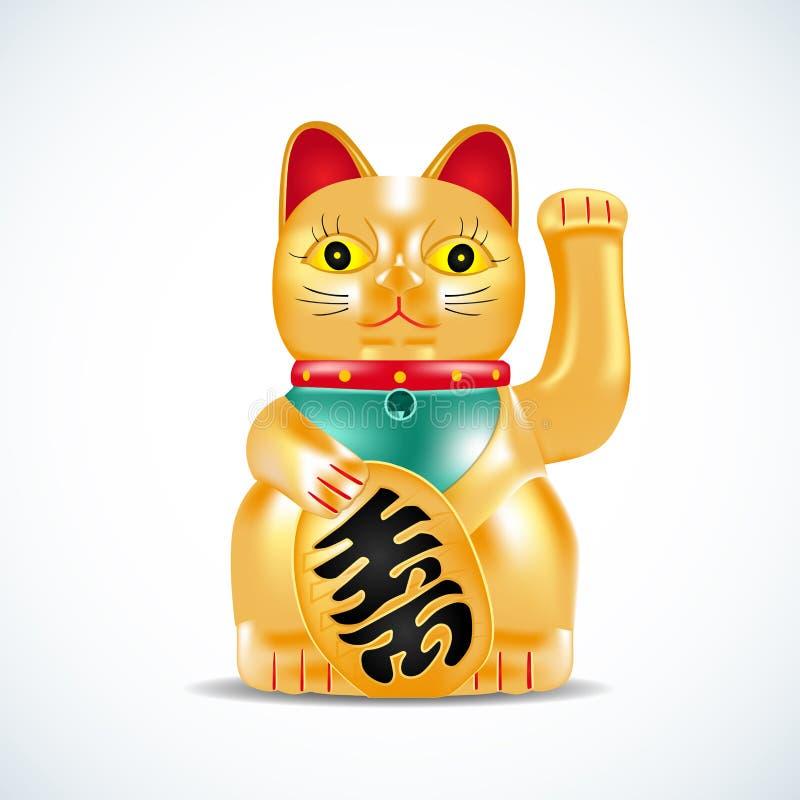 Neko Maneki, золотой кот Японская золотая маленькая скульптура Удачливый кот на красном круге с фейерверками также вектор иллюстр иллюстрация штока