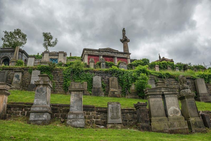 Nekropol Glasgow, Skottland, UK, kyrkogård royaltyfri foto