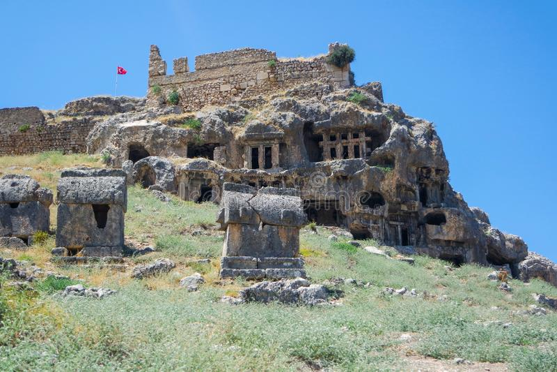 Nekropolis Hierapolis antycznego miasta widok, fethiye, mugla, indyk fotografia stock