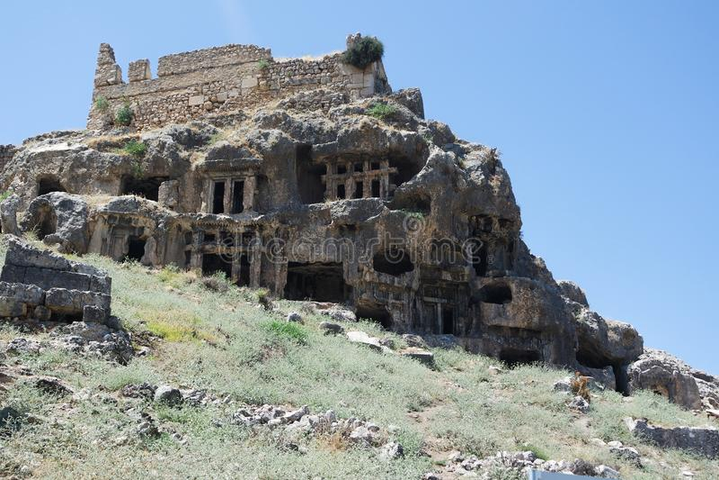 Nekropolis Hierapolis antycznego miasta widok, fethiye, mugla, indyk obraz royalty free