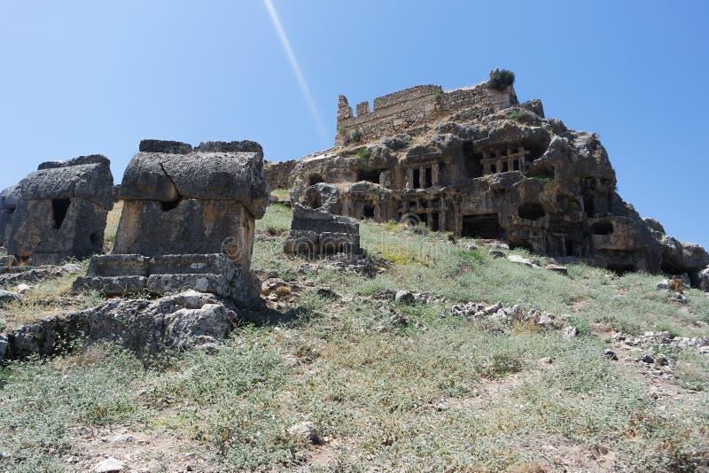 Nekropolis Hierapolis antycznego miasta widok, fethiye, mugla, indyk zdjęcia stock