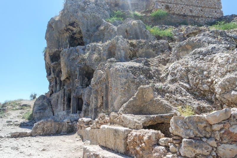 Nekropolis Hierapolis antycznego miasta widok, fethiye, mugla, indyk fotografia royalty free