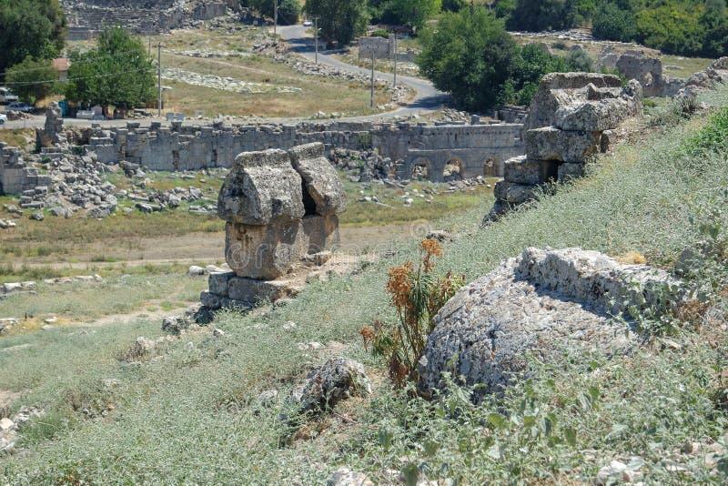 Nekropolis Hierapolis antycznego miasta widok, fethiye, mugla, indyk zdjęcie stock