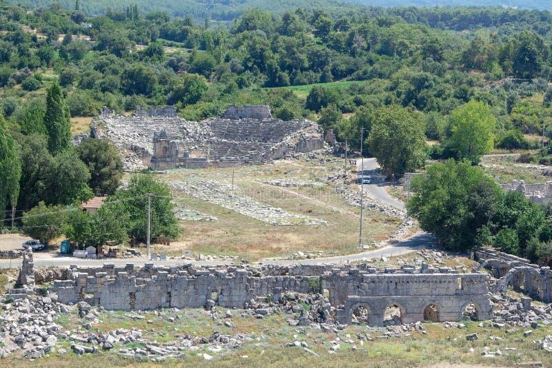 Nekropolis Hierapolis antycznego miasta widok, fethiye, mugla, indyk zdjęcia royalty free