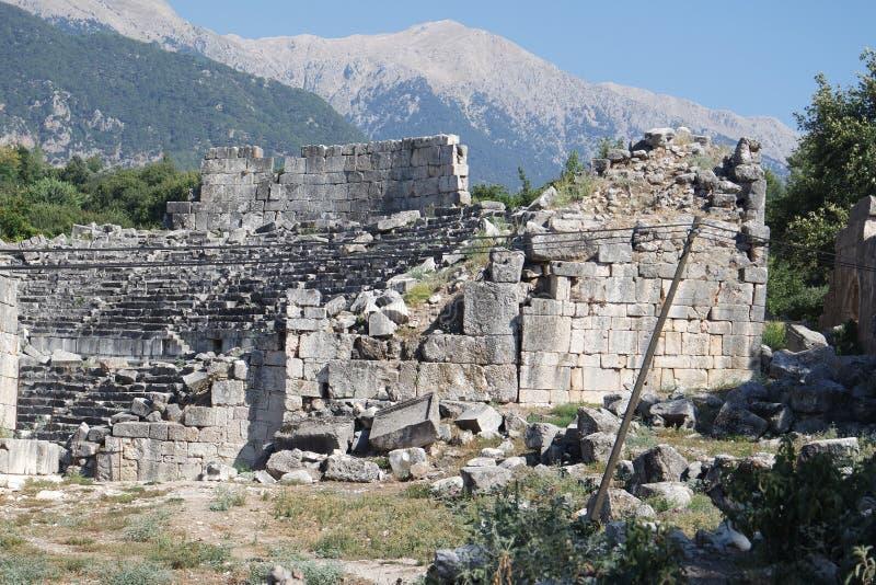 Nekropolis Hierapolis antycznego miasta widok, fethiye, mugla, indyk obrazy royalty free