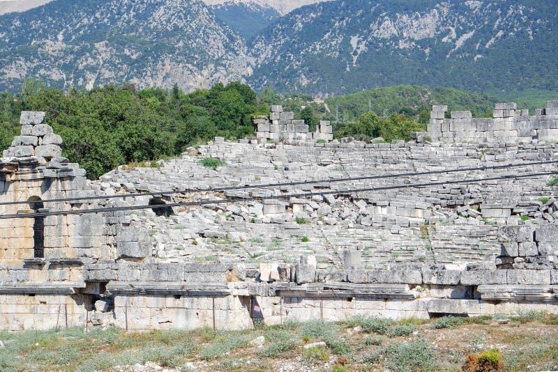 Nekropolis Hierapolis antycznego miasta widok, fethiye, mugla, indyk obrazy stock