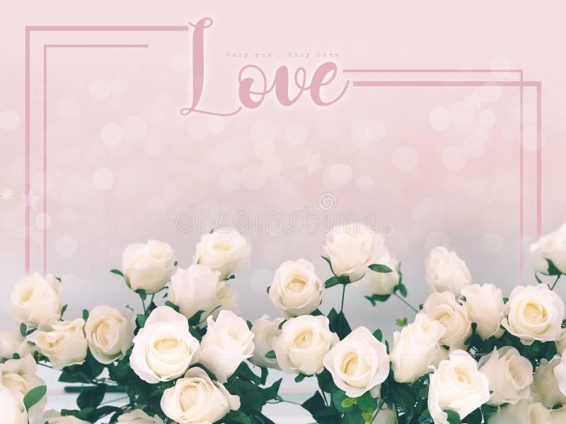 Nel concetto di amore, ami esprimere sul fondo delle rose bianche fotografia stock