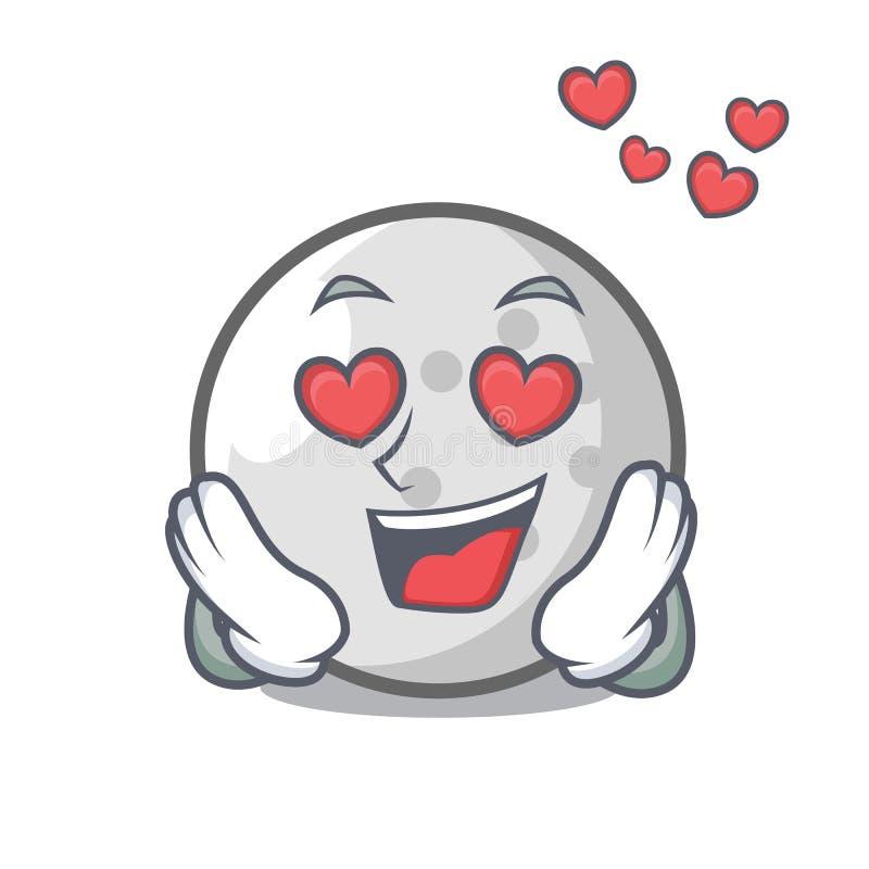 Nel fumetto della mascotte della palla da golf di amore royalty illustrazione gratis