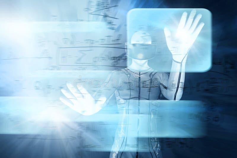 Nel mondo di realtà virtuale Cuffia avricolare d'uso degli occhiali di protezione dell'uomo illustrazione di stock