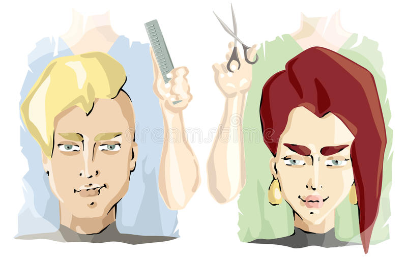 Nel salone di lavoro di parrucchiere illustrazione di stock
